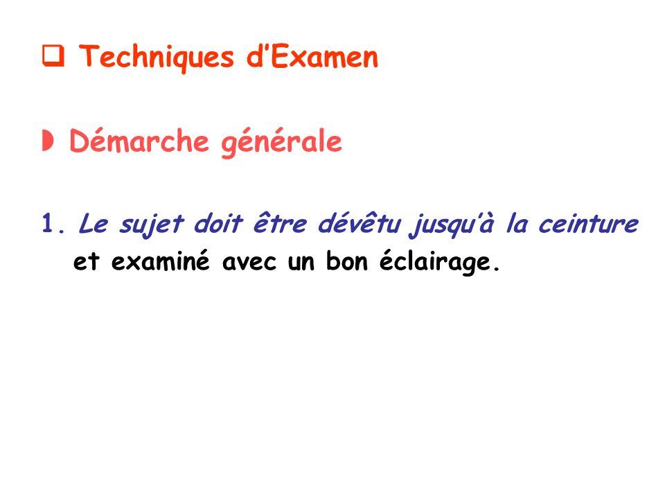  Techniques d'Examen  Démarche générale