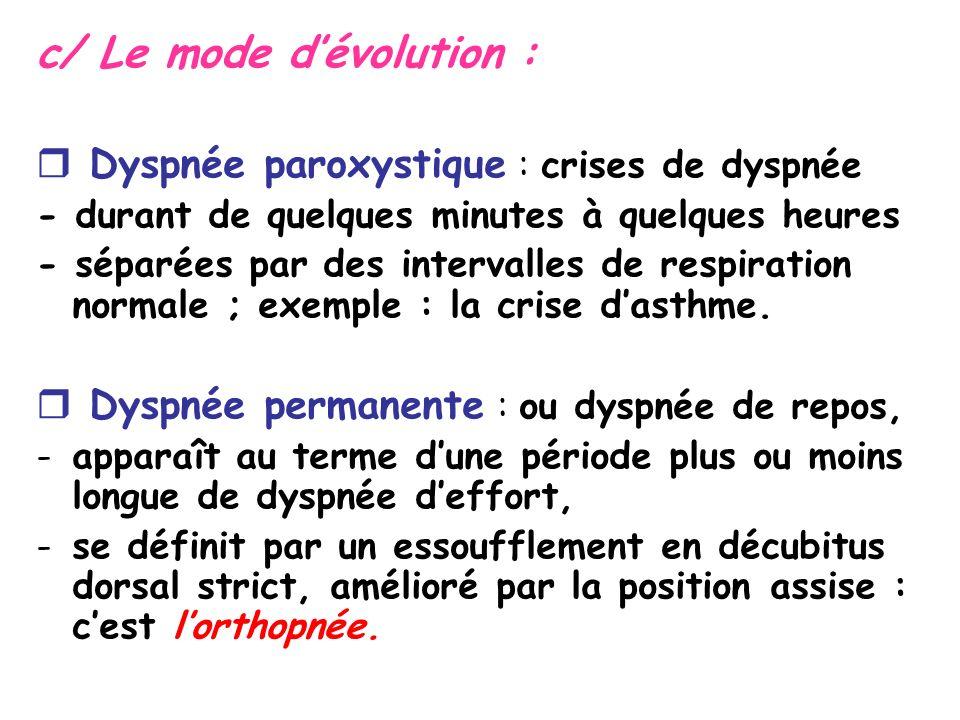 c/ Le mode d'évolution :