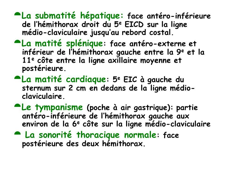 La submatité hépatique: face antéro-inférieure de l'hémithorax droit du 5e EICD sur la ligne médio-claviculaire jusqu'au rebord costal.