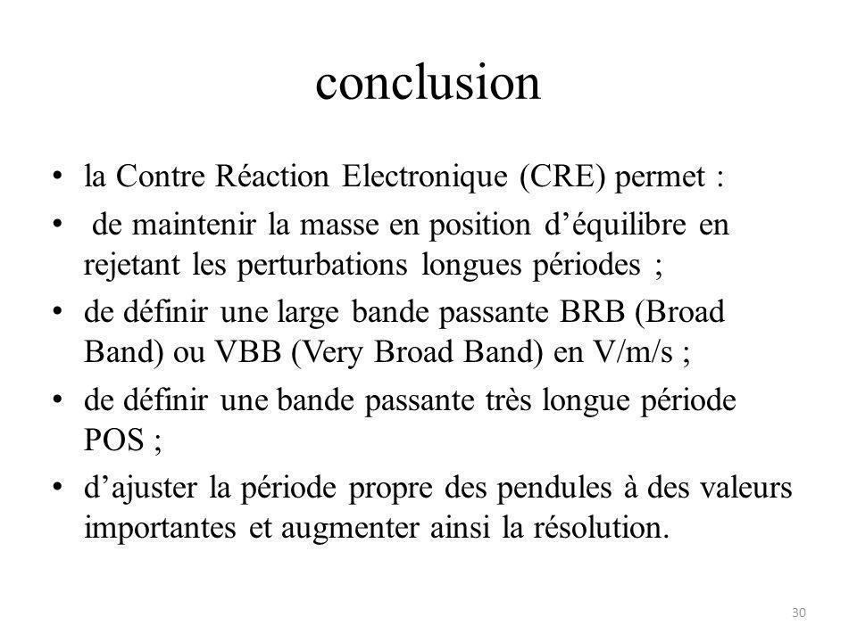 conclusion la Contre Réaction Electronique (CRE) permet :