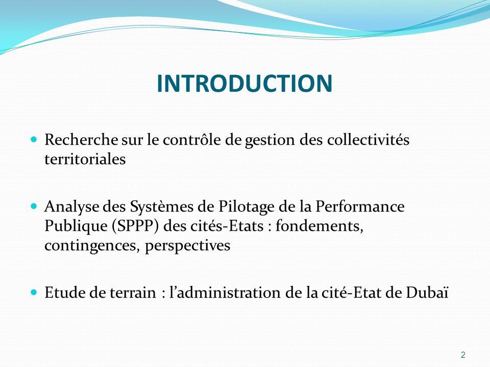 INTRODUCTION Recherche sur le contrôle de gestion des collectivités territoriales.