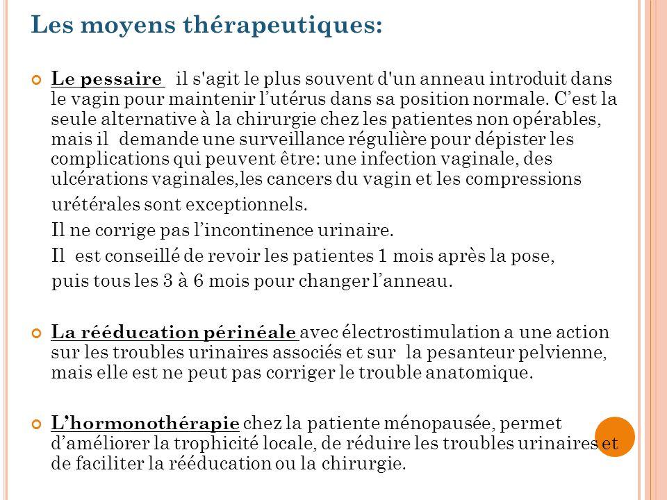 Les moyens thérapeutiques: