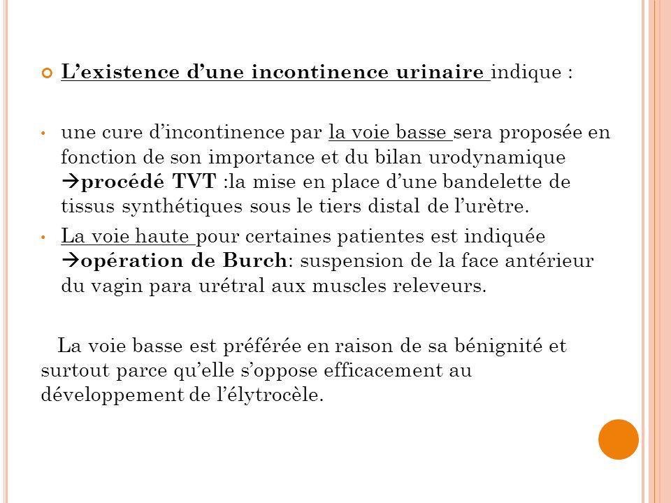 L'existence d'une incontinence urinaire indique :