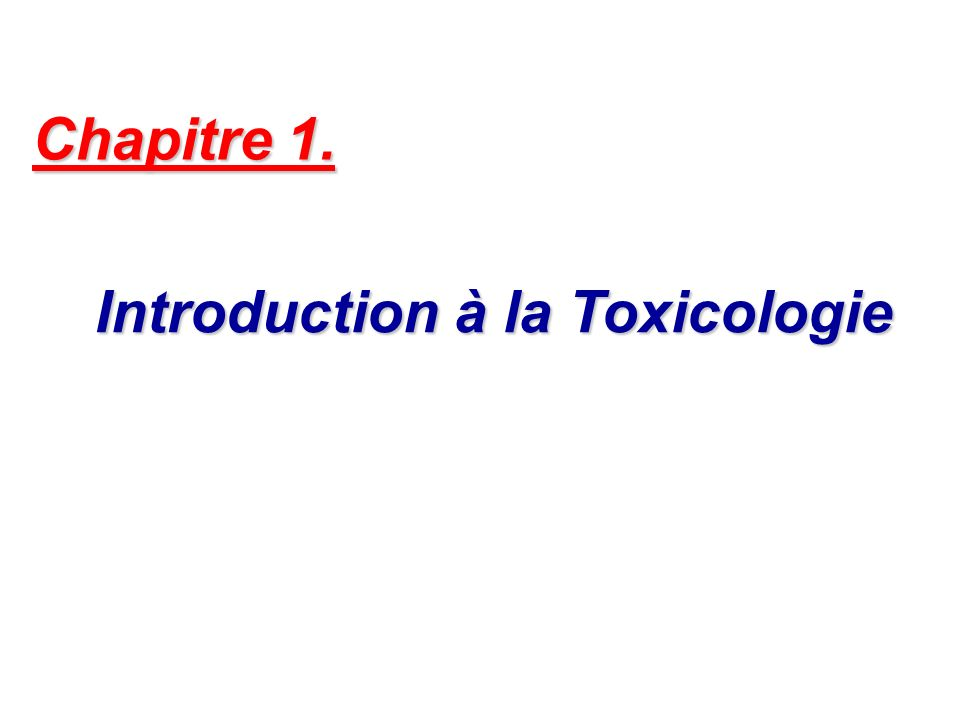 Introduction à la Toxicologie
