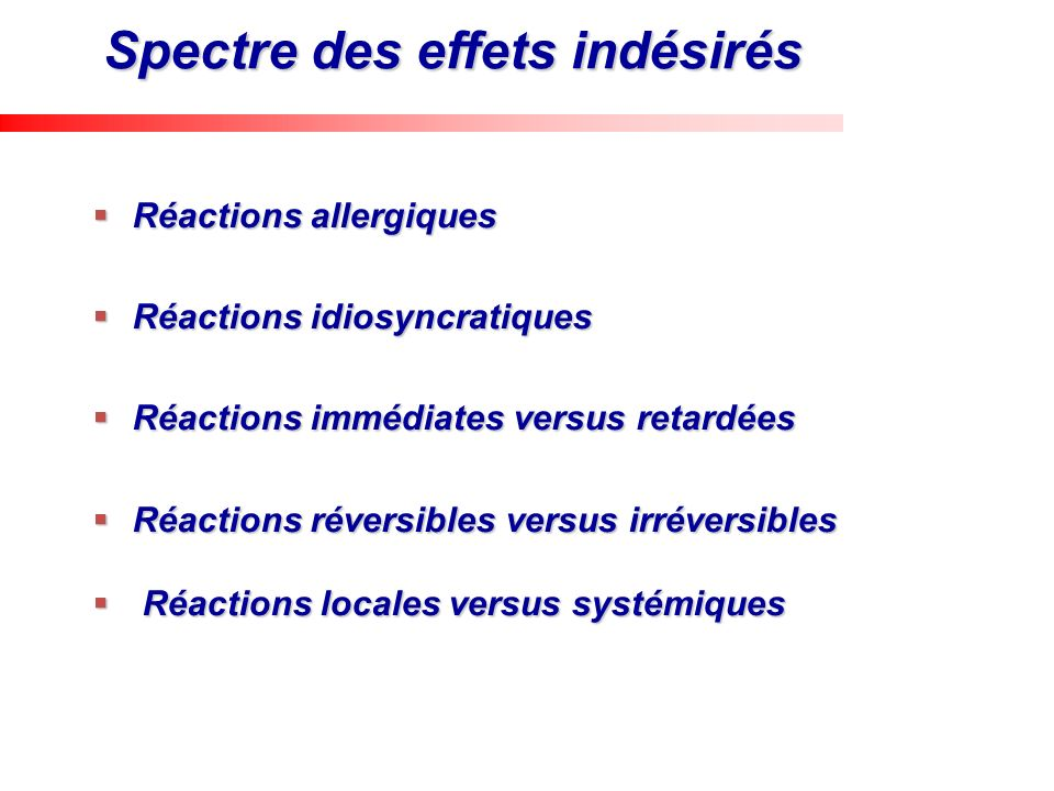 Spectre des effets indésirés