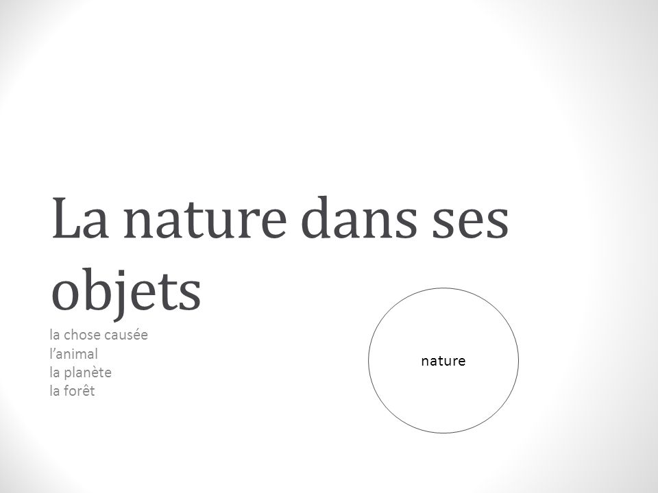La nature dans ses objets