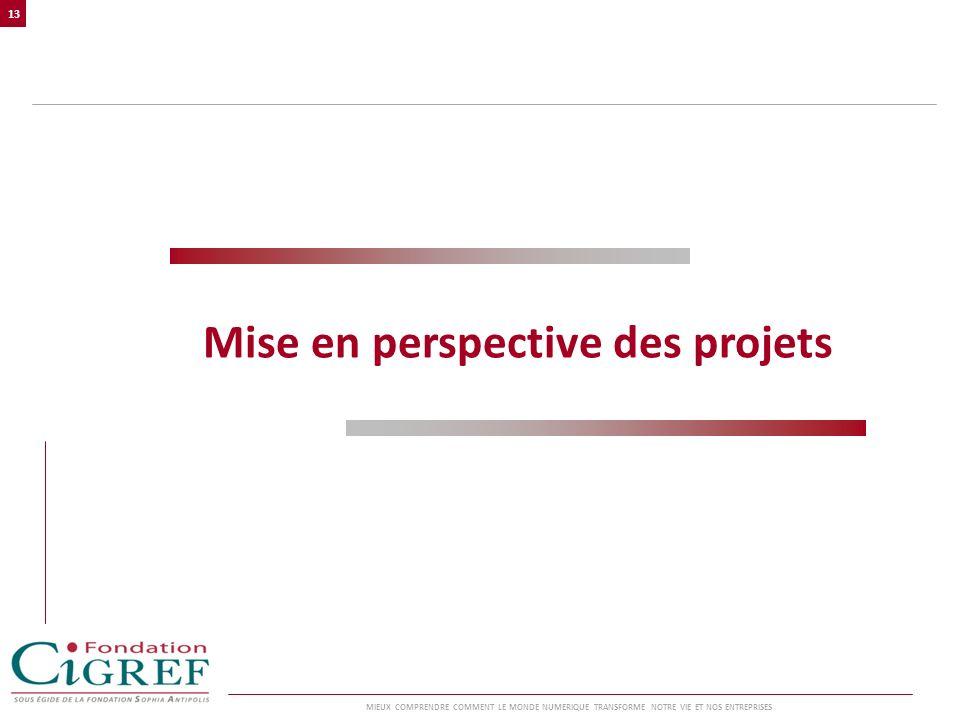 Mise en perspective des projets