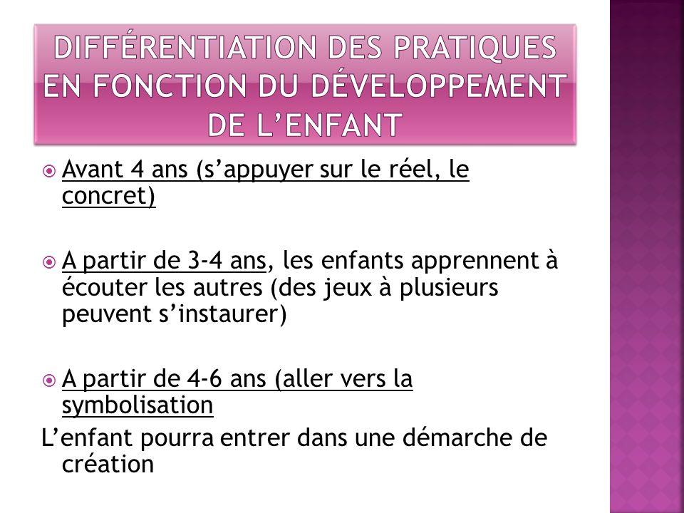 Différentiation des pratiques en fonction du développement de l'enfant