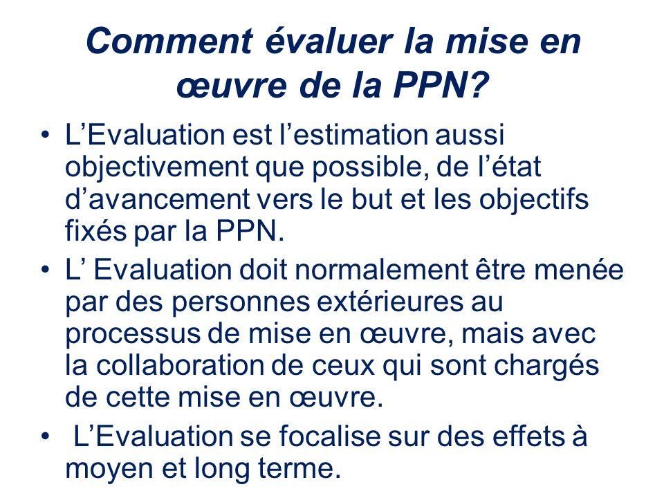 Comment évaluer la mise en œuvre de la PPN