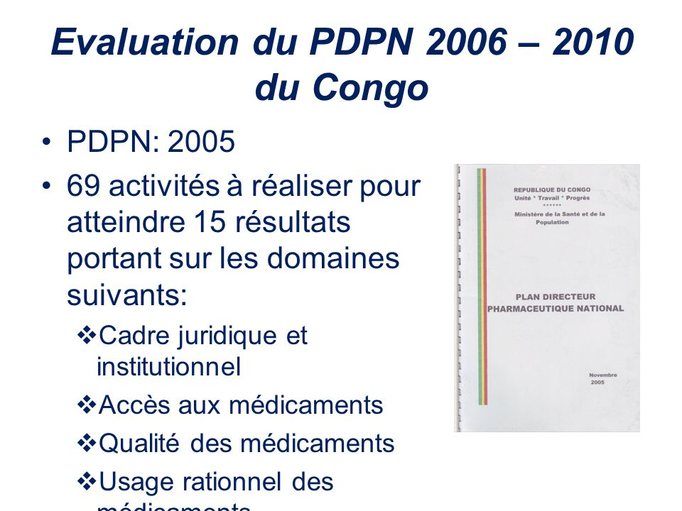 Evaluation du PDPN 2006 – 2010 du Congo