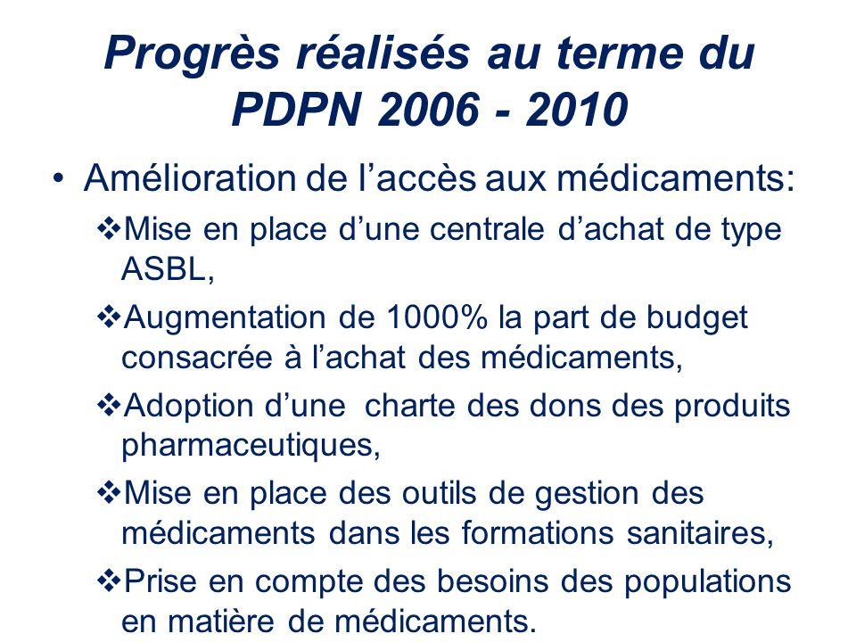 Progrès réalisés au terme du PDPN 2006 - 2010