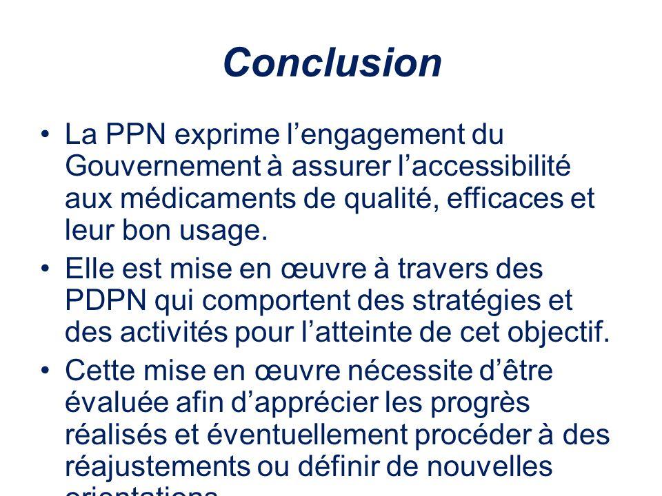 Conclusion La PPN exprime l'engagement du Gouvernement à assurer l'accessibilité aux médicaments de qualité, efficaces et leur bon usage.
