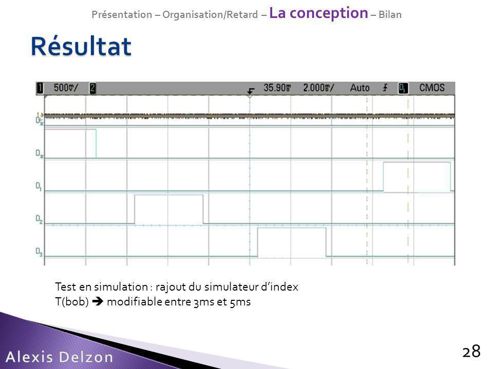 Présentation – Organisation/Retard – La conception – Bilan