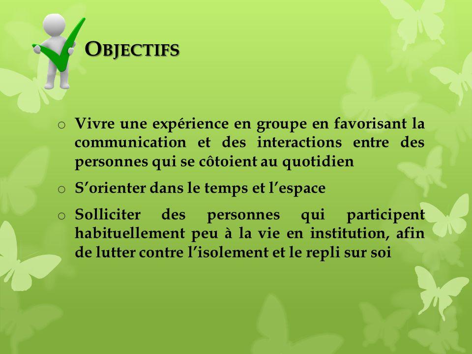 Objectifs Vivre une expérience en groupe en favorisant la communication et des interactions entre des personnes qui se côtoient au quotidien.