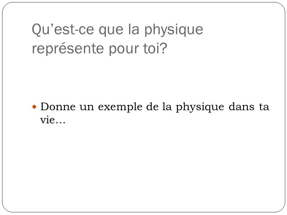 Qu'est-ce que la physique représente pour toi