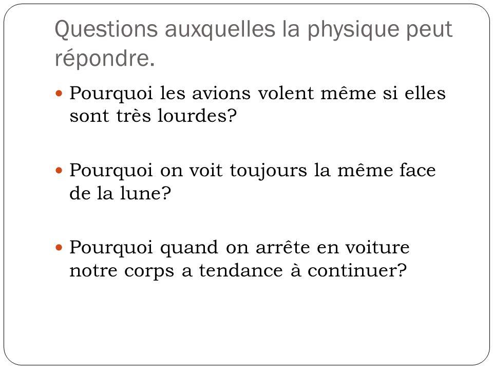 Questions auxquelles la physique peut répondre.