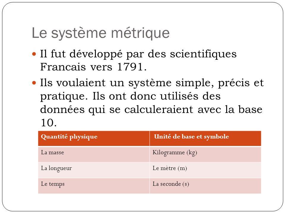 Le système métrique Il fut développé par des scientifiques Francais vers 1791.