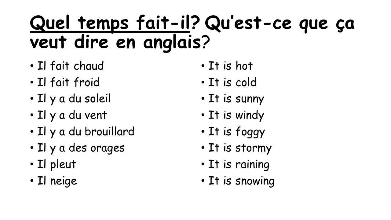 Quel temps fait-il Qu'est-ce que ça veut dire en anglais