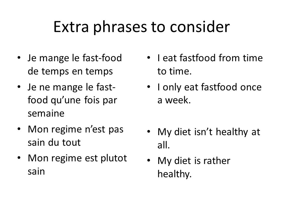 Extra phrases to consider