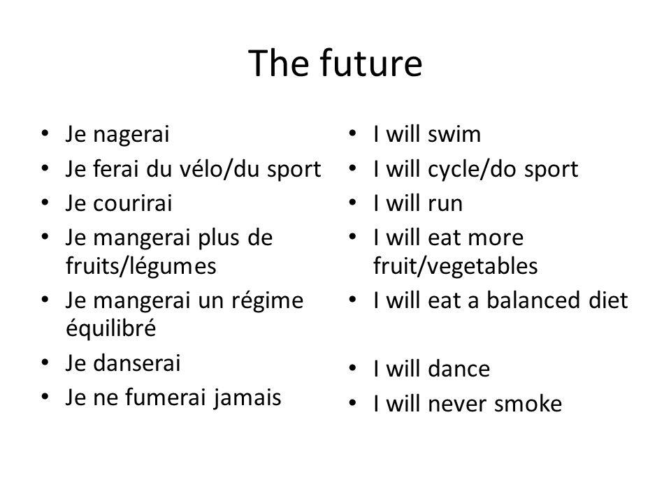The future Je nagerai Je ferai du vélo/du sport Je courirai