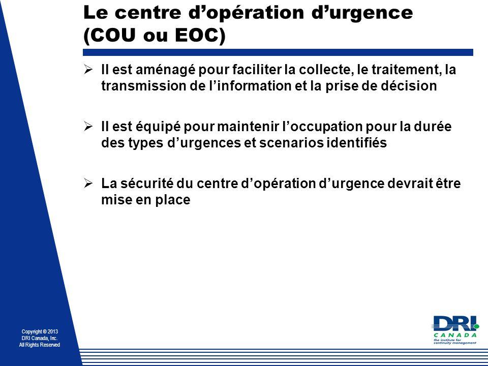 Le centre d'opération d'urgence (COU ou EOC)