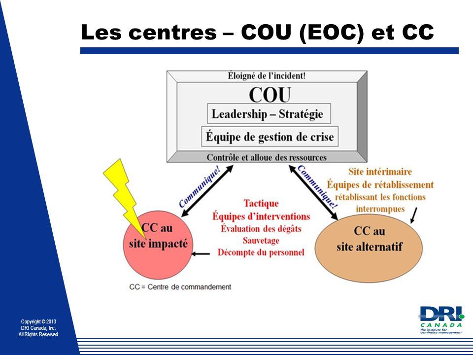 Les centres – COU (EOC) et CC