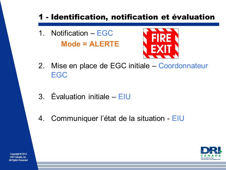 1 - Identification, notification et évaluation