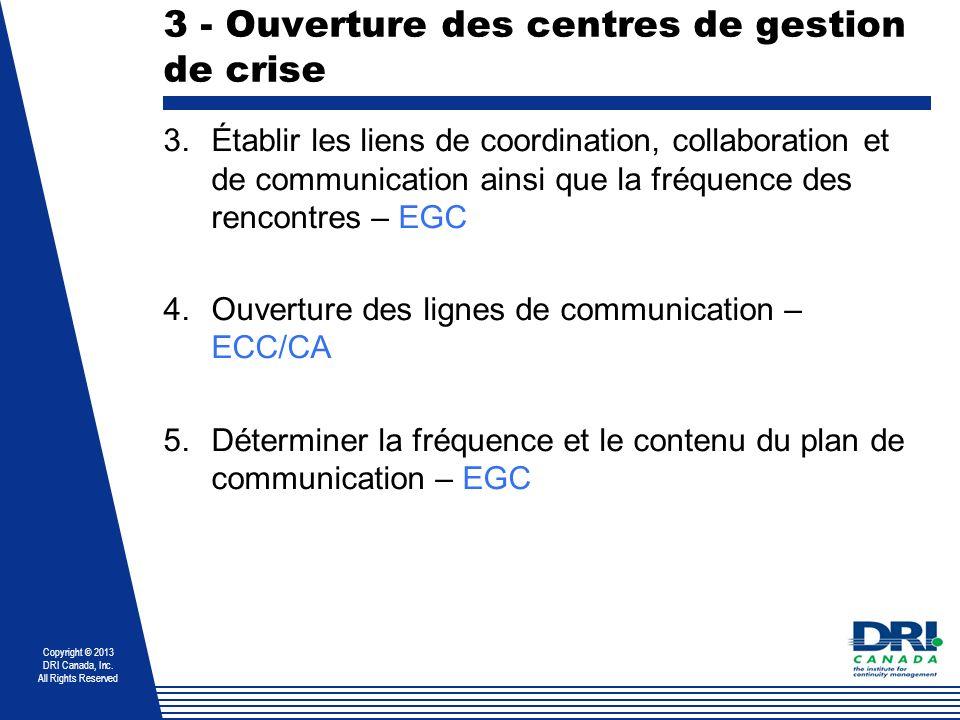 3 - Ouverture des centres de gestion de crise
