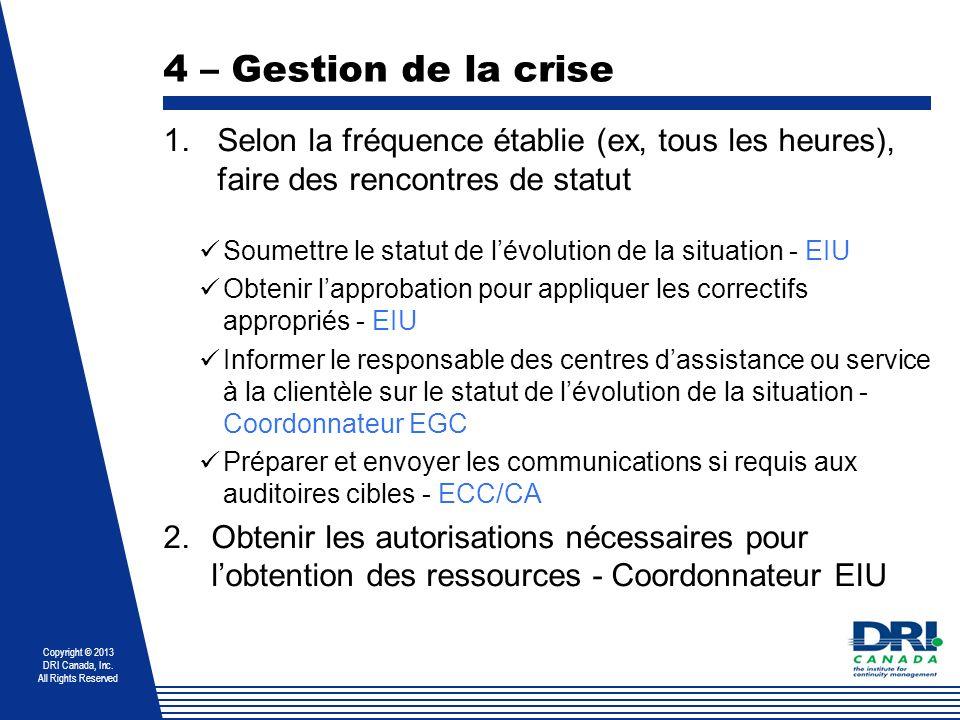 4 – Gestion de la crise Selon la fréquence établie (ex, tous les heures), faire des rencontres de statut.