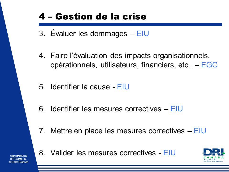 4 – Gestion de la crise Évaluer les dommages – EIU