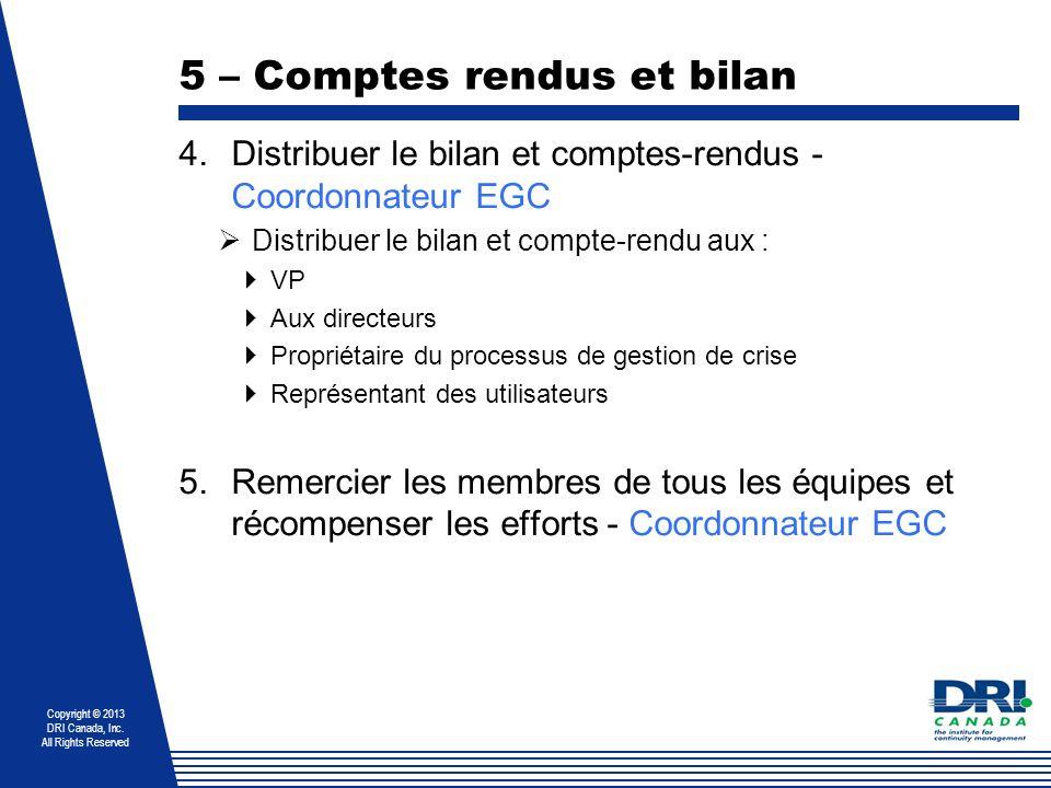 5 – Comptes rendus et bilan