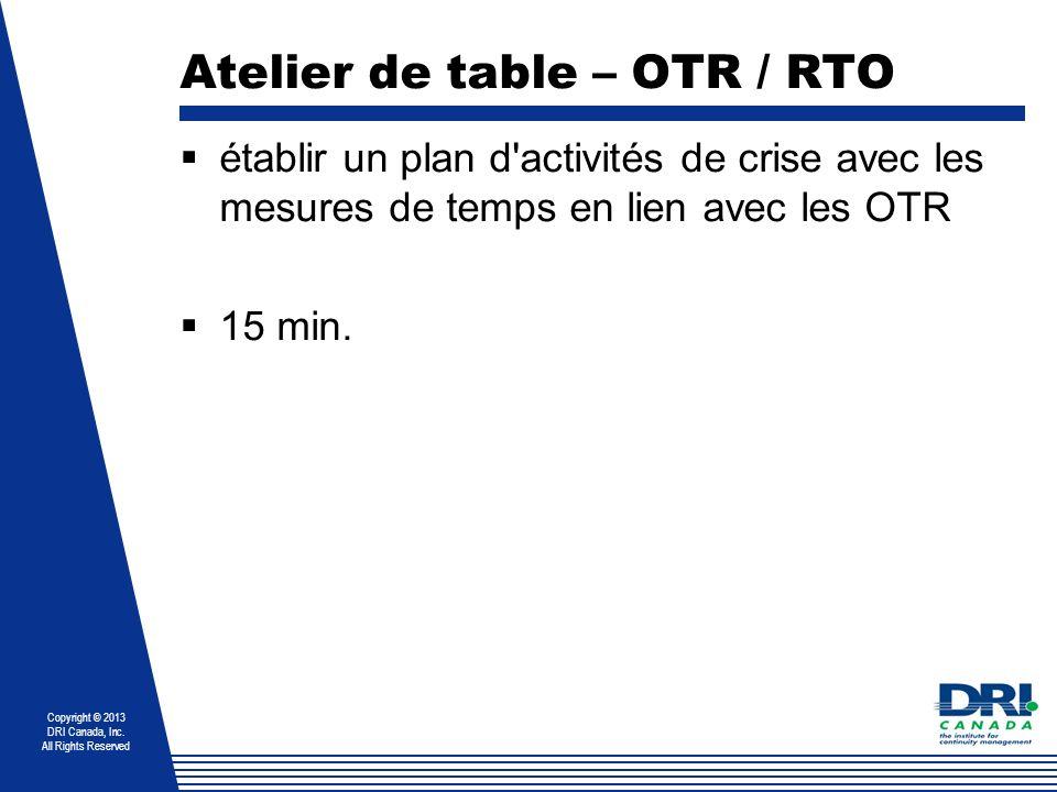 Atelier de table – OTR / RTO