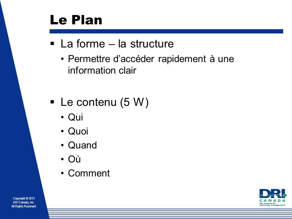 Le Plan La forme – la structure Le contenu (5 W)