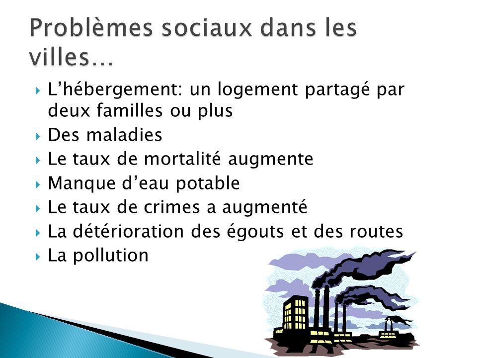Problèmes sociaux dans les villes…