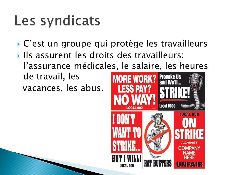 Les syndicats C'est un groupe qui protège les travailleurs