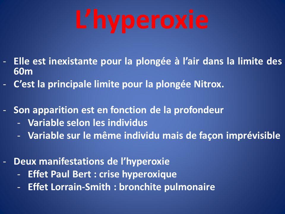 L'hyperoxie Elle est inexistante pour la plongée à l'air dans la limite des 60m. C'est la principale limite pour la plongée Nitrox.