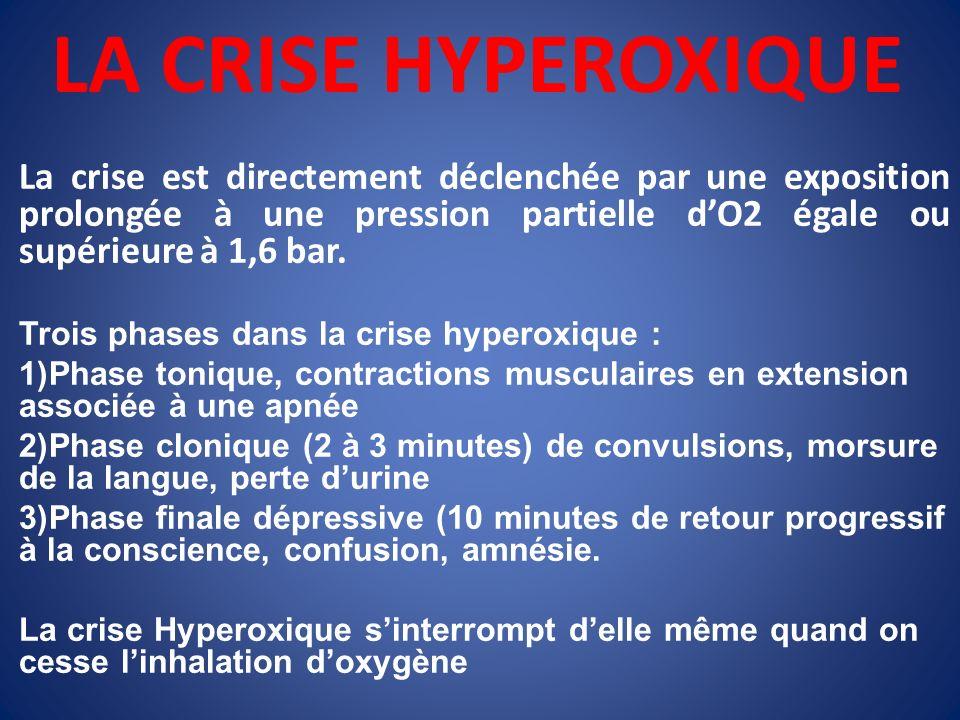 LA CRISE HYPEROXIQUE La crise est directement déclenchée par une exposition prolongée à une pression partielle d'O2 égale ou supérieure à 1,6 bar.