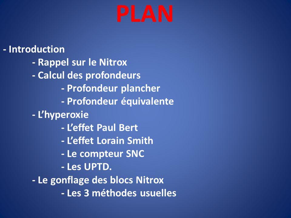 PLAN - Introduction - Rappel sur le Nitrox - Calcul des profondeurs