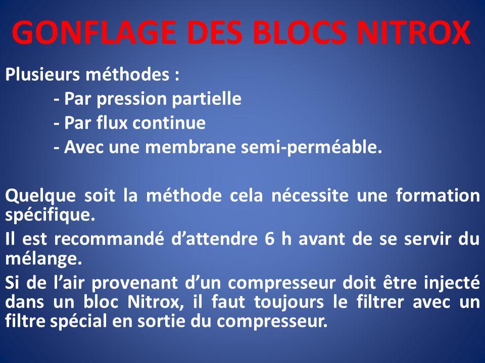 GONFLAGE DES BLOCS NITROX