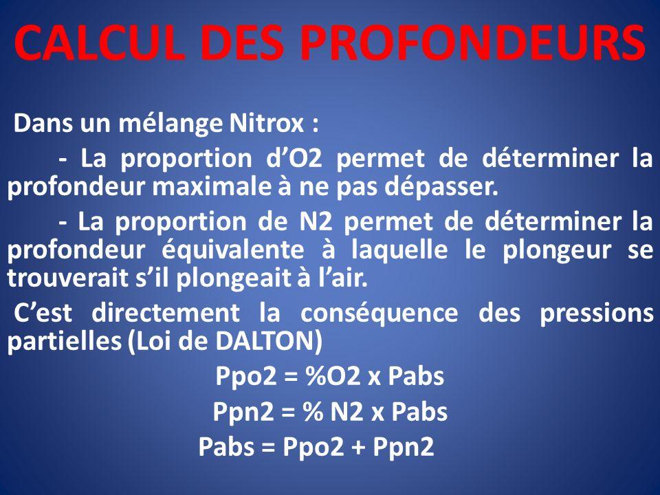 CALCUL DES PROFONDEURS