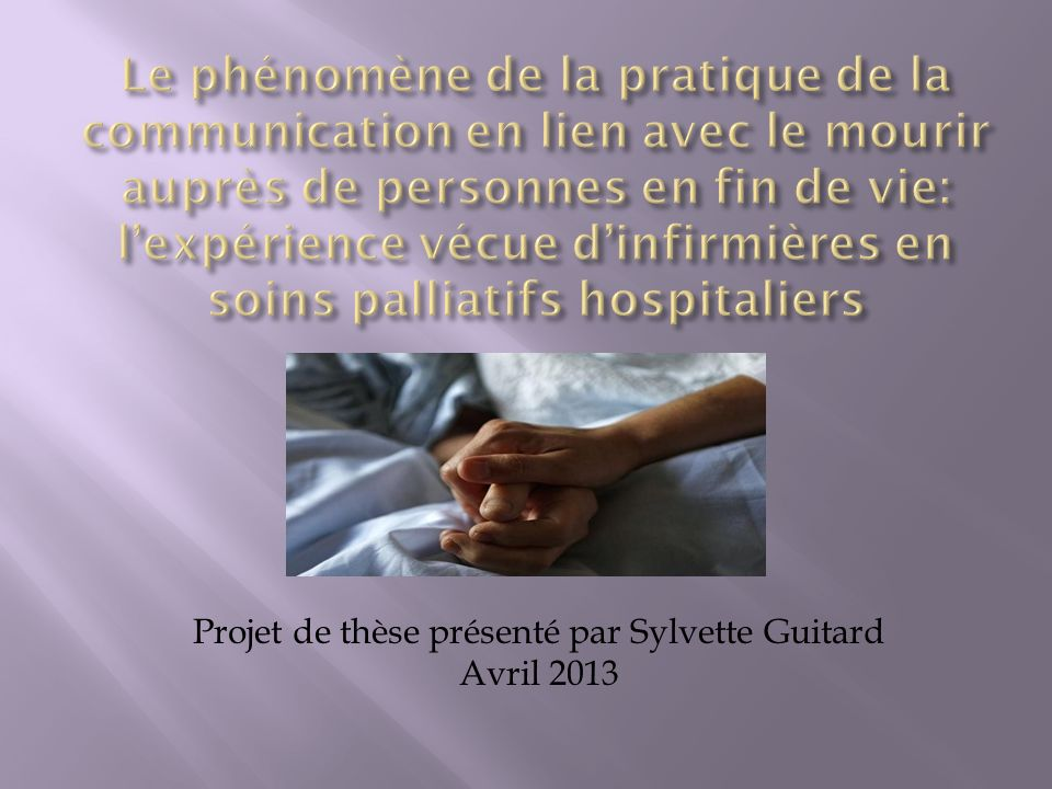 Projet de thèse présenté par Sylvette Guitard