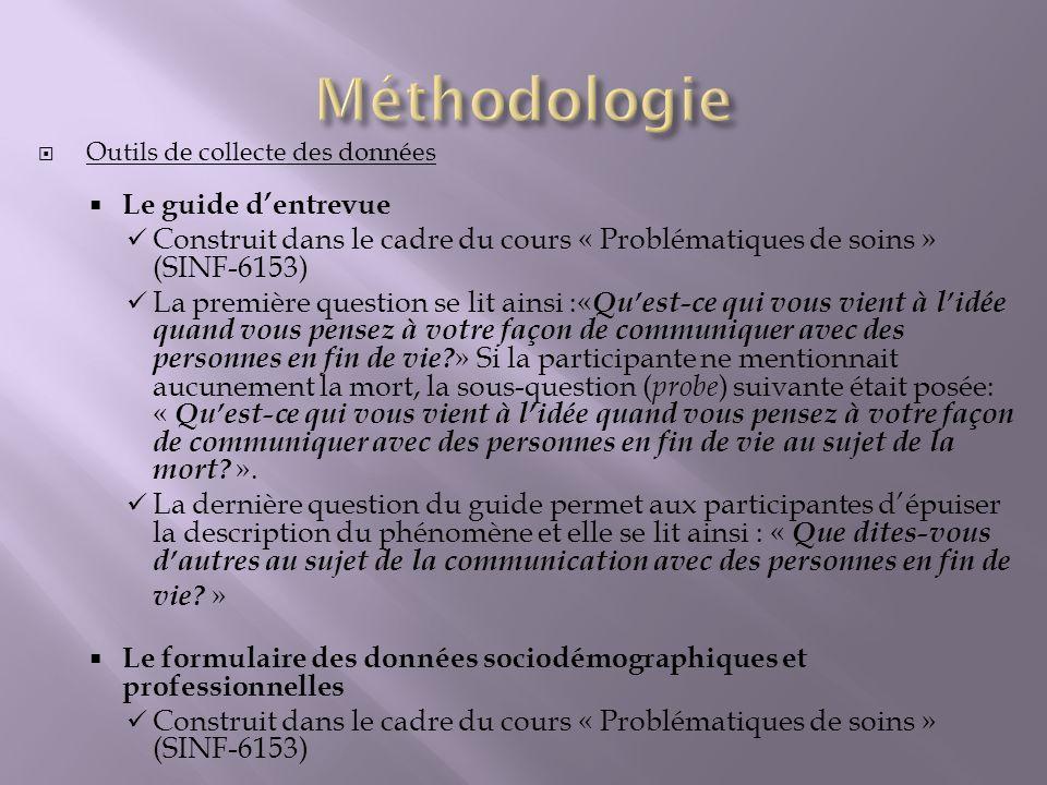 Méthodologie Le guide d'entrevue