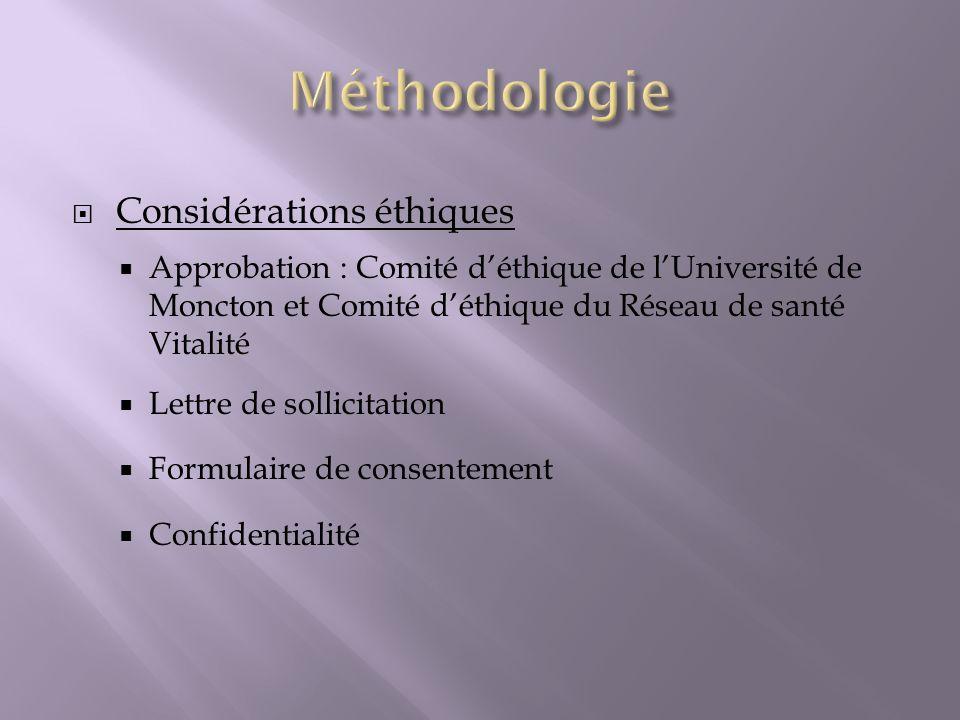 Méthodologie Considérations éthiques