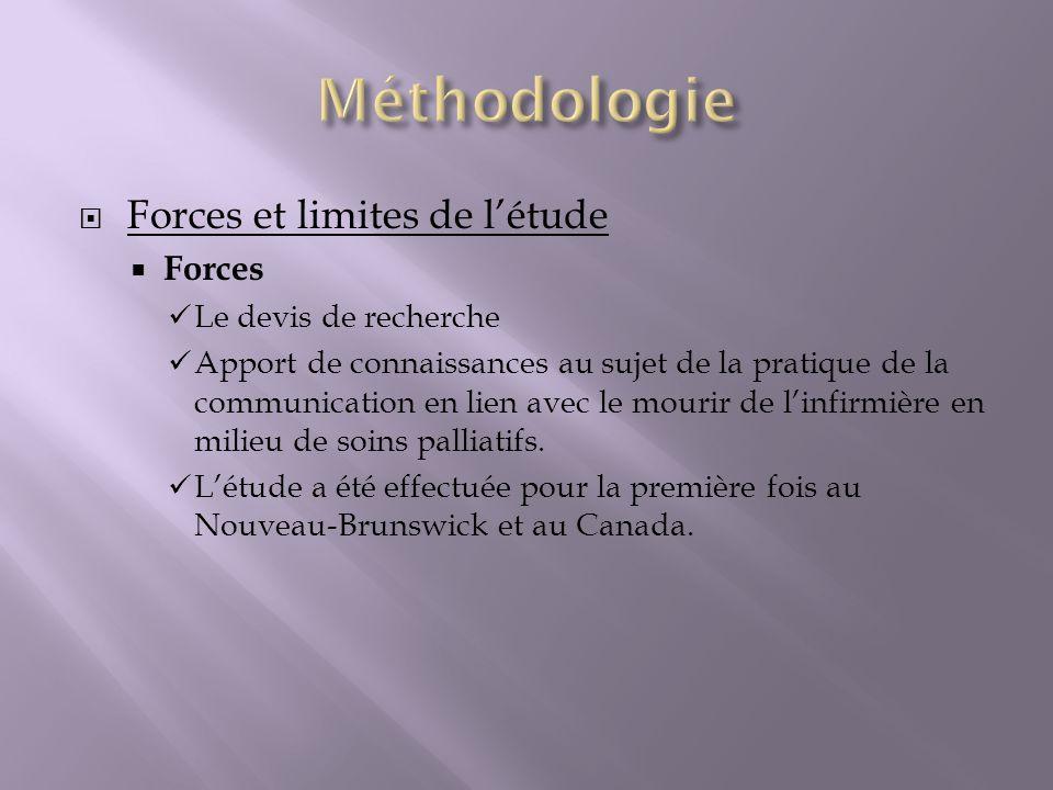 Méthodologie Forces et limites de l'étude Forces Le devis de recherche