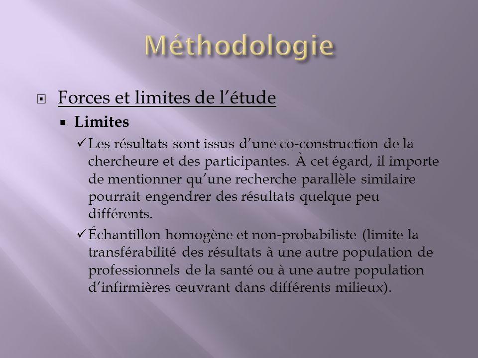 Méthodologie Forces et limites de l'étude Limites
