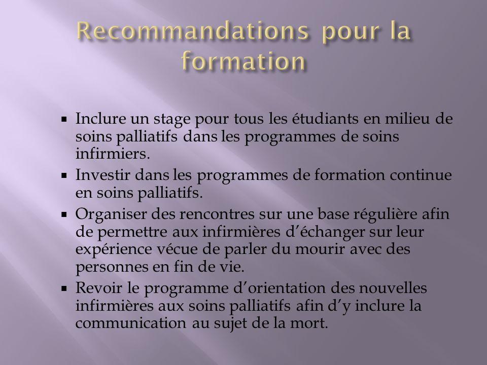 Recommandations pour la formation