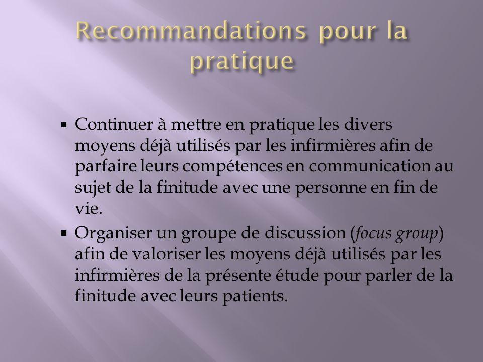 Recommandations pour la pratique