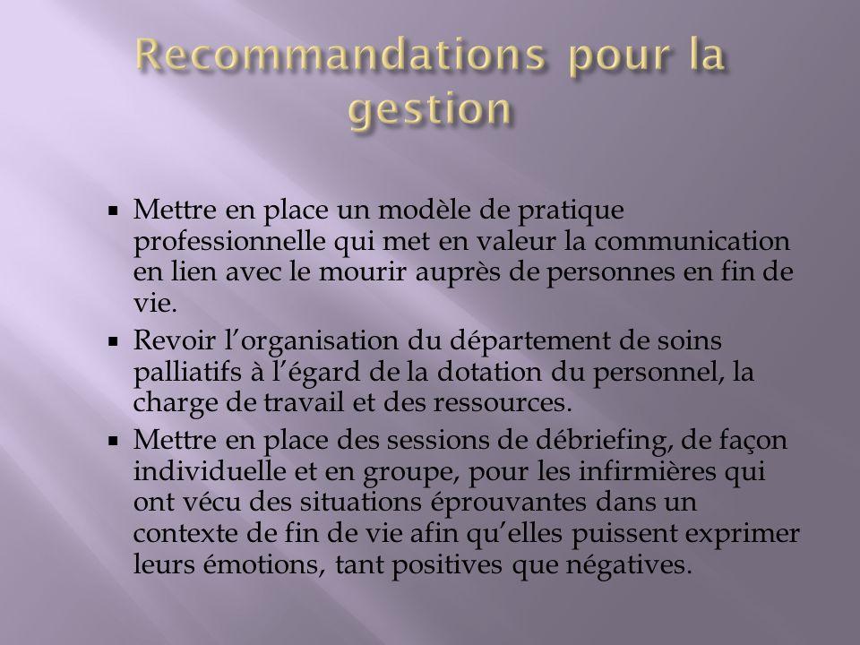 Recommandations pour la gestion