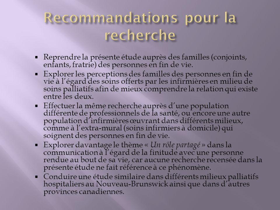 Recommandations pour la recherche