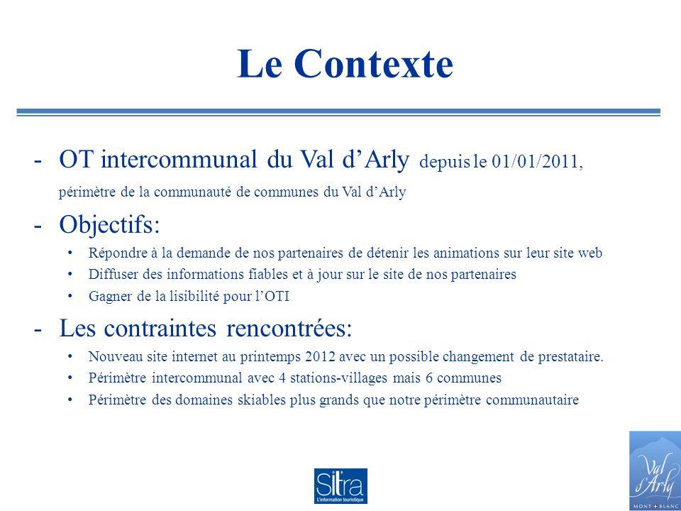 Le Contexte OT intercommunal du Val d'Arly depuis le 01/01/2011,